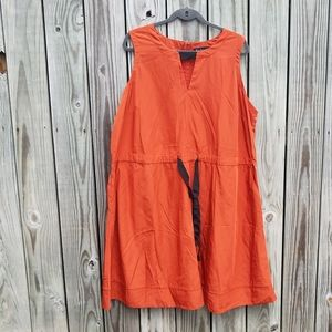 Eloquii 22 Pocket Dress Orange and Black keyhole